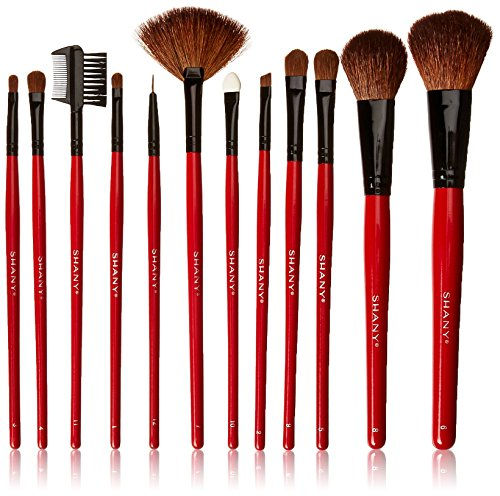 SHANY Professional 12 - Piece Natural Goat and Badger Cosmetic Brush Set with Pouch - Red (12 Piece Make Up Brush Set compare prices)