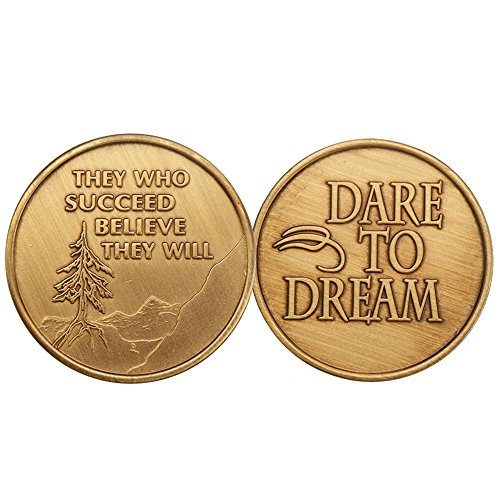 They Who Succeed - Dare to Dream - Bronze AA (Alcoholics Anonymous) -ACA-AL-ANON - Sober / Sobriety / Affirmation / Birthday / Anniversary / Desire / Recovery / Medallion / Coin / Chip - 1