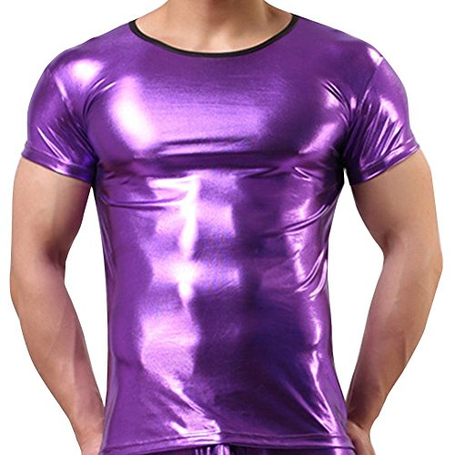 FEESHOW Men's Shiny Metallic Leather Look Underwear Short Sleeve T Shirt Top Purple Small(Chest: 31.5-41.0