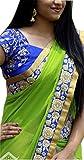 HEYDAA NX 93 Green And Cream Color Gerogette Multy Saree