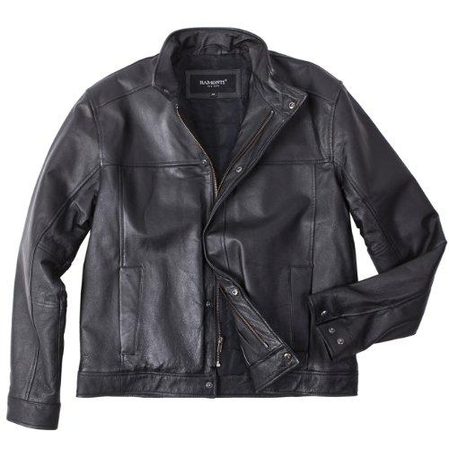 Mens Stand-Up Collar Black Genuine Leather Moto Jacket, Black, Large