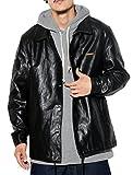 (ディーオーピー) DOP PUレザー ジャケット メンズ 大きいサイズ フェイクレザージャケット ヒップホップ ウエッサイ ストリート (ブラック XL)