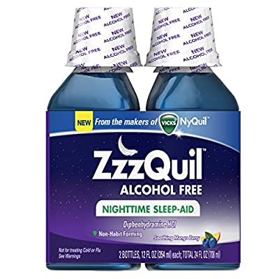 ZzzQuil Nighttime Sleep Aid, Diphenhydramine HCl, Alcohol Free Soothing Mango Berry Liquid, 24 Fl Oz