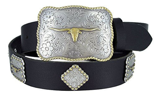 Mens Texas Longhorn Steer Western Cowboy Belt with Matching Conchos and Oil Tanned Leather Strap(BLK,38)