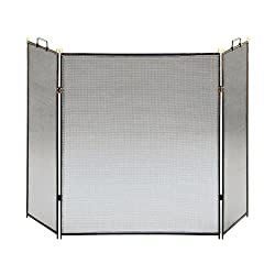 "Three-Fold Black 30"" High Flat Fireplace Screen from Universal Lighting and Decor"