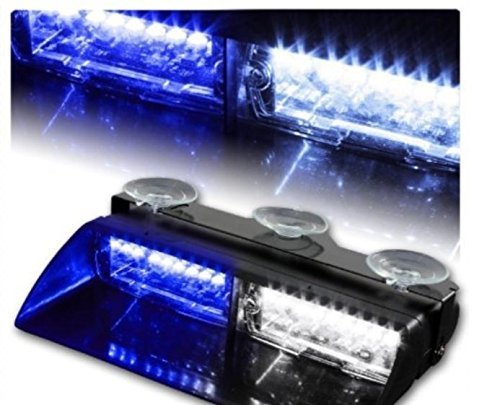 18 Flash Modes Memory Function Blue&White 16 LED Emergency Hazard Traffic Warning Strobe Lights Lamp Bar Kit for Vehicle Car Truck SUV Interior Roof/Dash/Windshield with Suction Cups (Police Blue White Lights compare prices)