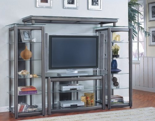 Image of Modern Contemporary Style Gray Finish Metal Entertainment Center TV Stand (VF_AZ00-9012x29843)