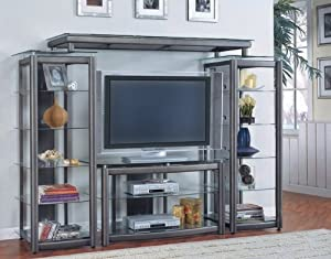 Open Shelf Dark Gray Metal/Glass Finish 4 Piece Entertainment Unit - Coaster Co.