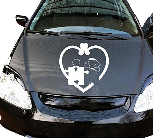 Autoaufkleber Hochzeit Wedding Herz Heart Puzzle Weiß KLEIN