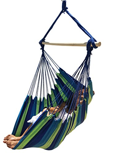 Large Brazilian Hammock Chair by Hammock Sky® - Quality Cotton Weave for Superior Comfort & Durability - Extra Long Bed - Hanging Chair for Yard, Bedroom, Porch, Indoor / Outdoor (Blue & Green Stripes)