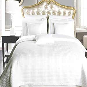 California King size White Coverlet 3pc set, Luxury Microfiber Checkered Quilted by Royal Hotel