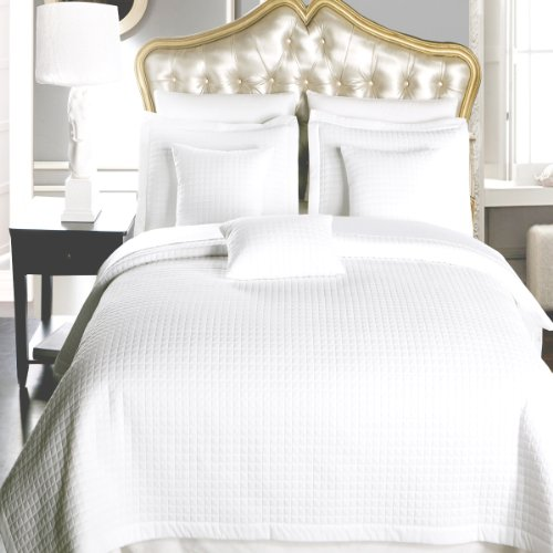 King Size White Coverlet 3Pc Set, Luxury Microfiber Checkered Quilted By Royal Hotel front-15460
