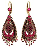 Vintage Style Michal Negrin Enticing Tear Shaped Dangle Earrings Ornate with Fuchsia and Purple Swarovski Crystals and Beads