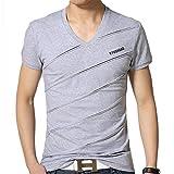 【TPGROWIN】 メンズ Vネック 半袖Tシャツ トップス カジュアル タイト 無地シンプル 速乾性 インナー全6カラー グレー L