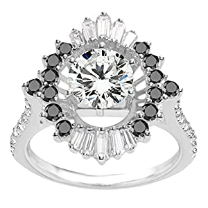 Promise Ring Set with Black And White Diamonds mounted in Sterling Silver (4 ct. twt.)