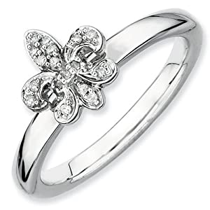 IceCarats Designer Jewelry Size 9 Sterling Silver Stackable Expressions Fleur De Lis Diamond Ring