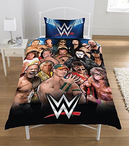 Legends WWE-Set copripiumino in percalle di puro cotone, 50/50 percento poliestere, multicolore, singolo, 135 x 200 cm