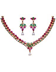 Gehna Pearl Emerald & Ruby Color Stone Studded Necklace & Earrings Made In Metal