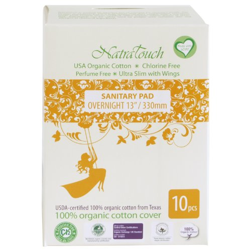 Natratouch Organic Sanitary Pads Ultra Slim with Wings 10 piece (Overnight)
