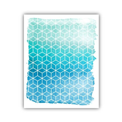 "Lucy Darling Geometric Watercolor Print Wall Decor, Teal, 5"" x 7"""
