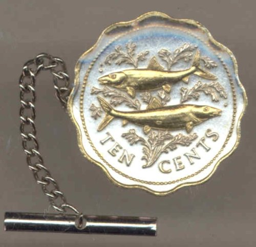 Two Tone Gold on Silver World Bone fish Coin Tie-Tack-154TT