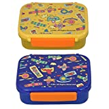 COMBO SET OF 2 LUNCH BOXES, MADE OF HIGH FOOD GRADE PLASTIC WITH ALL OVER UNIVERSAL DESIGN (YELLOW & BLUE)