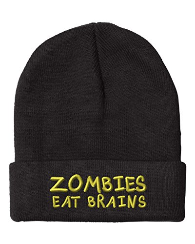 Zombies Eat Brains Embroidery Embroidered Beanie Skully Hat Cap Black