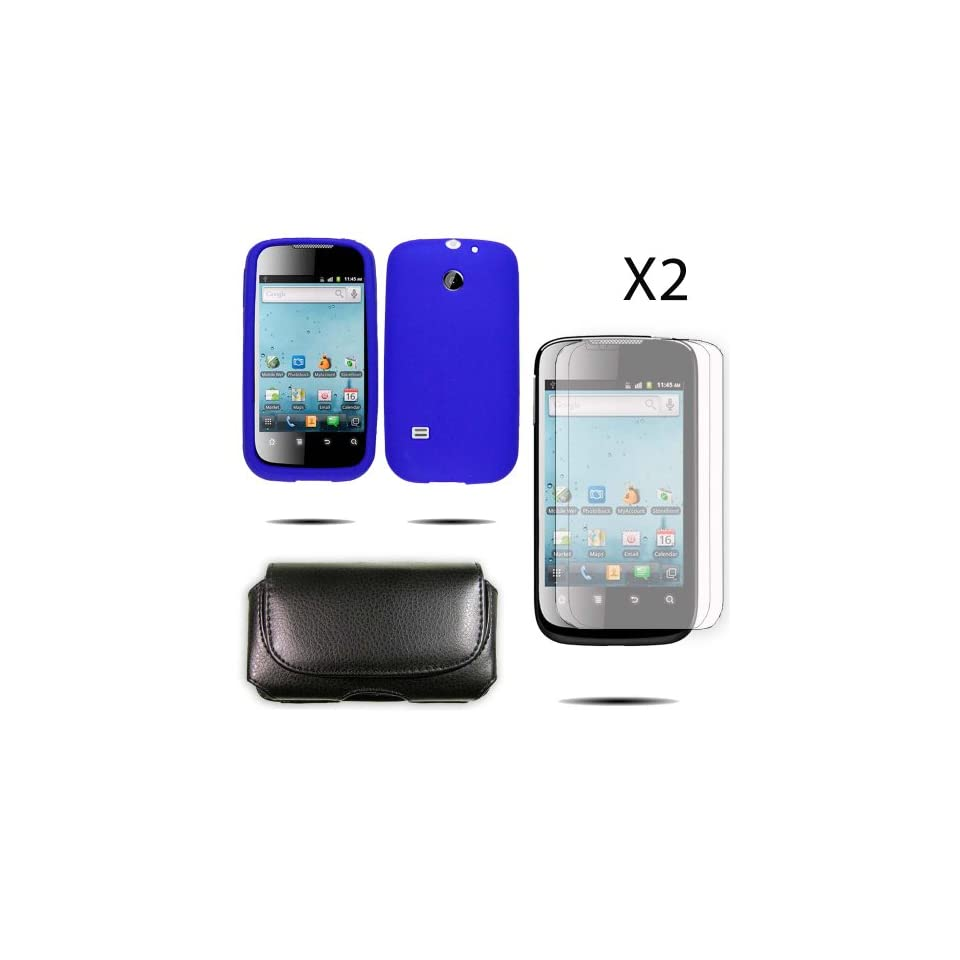HM865.SKBU.10R2.P15.70 Blue Silicone Skin Case / Rubber Soft Sleeve Protector Cover For Huawei Ascend 2 M865 + Horizontal Pouch For Mobile Phone