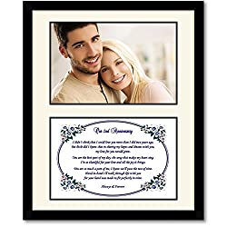 2nd Anniversary Gift - Love Poem for Husband, Wife, Boyfriend or Girlfriend in Photo Mat in 8x10 Inch Frame - Add Photo from Poetry Gifts