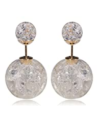 Celebrity Inspired Cracked Glass Double Pearl Bubbles Earring By Via Mazzini