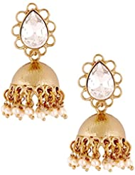 The Jewelbox 19K Antique Gold Plated American Diamond Jhumki Earring For Women