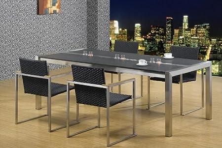 esszimmertisch edelstahl mit granitplatte lxb 180x100 cm marke. Black Bedroom Furniture Sets. Home Design Ideas