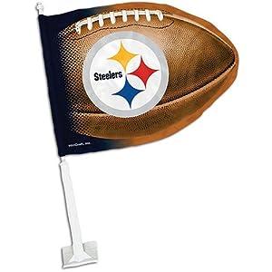 Steelers WinCraft Football-Shaped Car Flag at SteelerMania