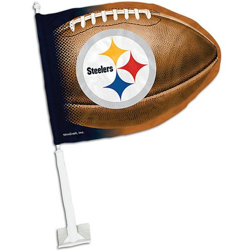 Steelers WinCraft Football-Shaped Car Flag at SteelerMania