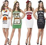 Ladies Jagermeister Vodka Jack Daniels Malibu Bottle Mini Dress & Hat Alcohol Drink Fun Hen Do Party Fancy Dress Costume Outfit UK 4-18