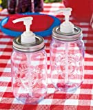 A Set of 2 Mason Jar Condiment Dispensers 16-oz. Liquid Jar Capacity Is Perfect for Picnics and Party -Add a Touch of Country Setting