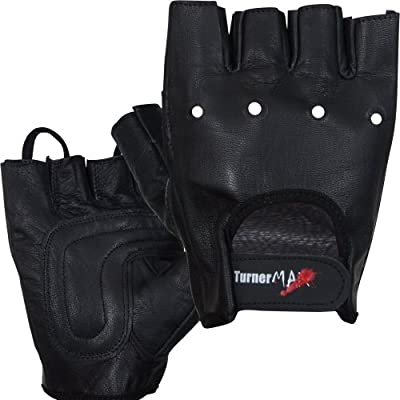 TurnerMAX Full Leather Pro Weight Lifting Weight Training Gloves for Body Building Fitness Cycling Exercise Black by Turner Sports