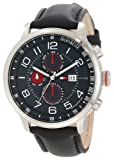 Tommy Hilfiger Mens 1790859 Stainless Steel and Leather Multi-Function Black Dial Watch