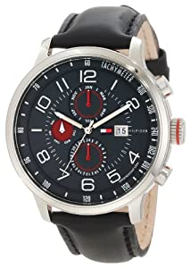 Tommy Hilfiger Men's 1790859 Stainless Steel and Leather Multi-Function Black Dial Watch