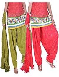 Womens Cottage Women's Combo Pack Of 2 Rogan Gold Printed Cotton Semi Patiala Salwar & Cotton Dupatta Stole With... - B01C46YGCK