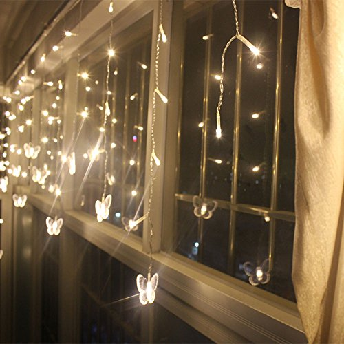 Crazy Genie 3.5M 96 Leds Solar Power String Fairy Lights Butterfly Style Leds Warm White Solar Energy Icicle Light For Indoor Outdoor Decoration Home Garden Christmas Wedding Party (Warm White)