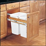 Rev-A-Shelf 4WCTM-18DM2 Double 35 Qt Wood Top Mount Pullout Waste Container - White