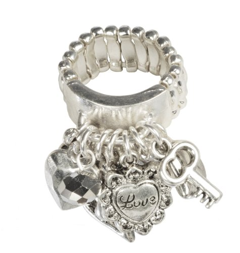 Silver Tone Stretch Ring with Love and Heart Charms