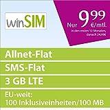 winSIM LTE 3000 [SIM, Micro-SIM und Nano-SIM] 24 Monate Laufzeit (3 GB LTE mit max. 50 MBit/s, Telefonie-Flat, SMS-Flat, EU-Weit: 100 Inklusiveinheiten, 100 MB Internetvolumen, 9,99 Euro/Monat in den ersten 12 Monaten, danach 24,99 Euro) O2-Netz