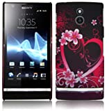 Lovehearts And Flowers Pink Hard Back Cover For Sony Xperia P LT22i With FREE Screen Protect