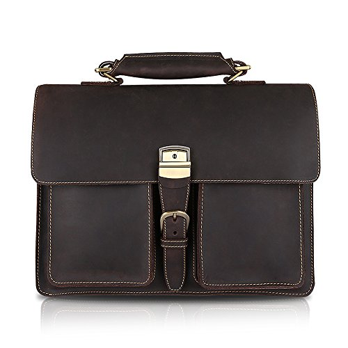 Kattee Eu Style Large Leather Briefcase Messenger Bag