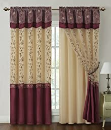 Two Piece Window Curtain Drapery Sheer Panel w/ Attached Backing and Valance 57\