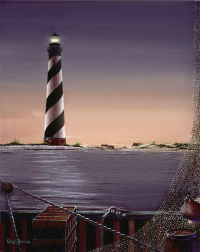 """The Guiding Light"" Dramatic Limited Edition Poster Print by American Artist Patricia Hobson - Featuring The Cape Hatteras Lighthouse on The Coastal Outer Banks of North Carolina, Image Size= 18.5 X 15 inches Frames Up to Approximatly 28.5 X 25.5 Inches"