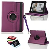 Masioneâ¢Purple 360 Degree Rotating Executive Multi-Function Standby Smart Case for the Kindle Fire HD 7
