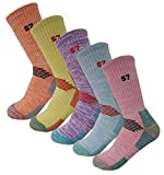 5Pack Women's Multi Performance Padded Hiking/Outdoor Crew Socks Medium 5Color Orange/Yellow/Purple/Sky Blue/Pink